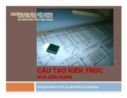 Bài giảng Cấu tạo kiến trúc nhà dân dụng - Chương 5: Cầu thang