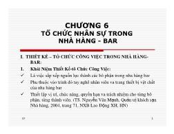 Bài giảng Điều hành hoạt động nhà hàng - Chương 6: Tổ chức nhân sự trong nhà hàng - bar