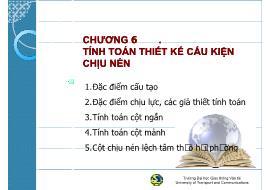 Bài giảng môn Kết cấu bê tông cốt thép - Chương 6: Tính toán thiết kế cấu kiện chịu nén - Đào Sỹ Đán