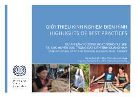 Dự án tăng cường hoạt động du lịch tại các huyện sâu trong đất liền tỉnh Quảng Nam