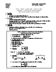 Giáo án Vật lý Lớp 11 - Tiết 1: Điện tích - Điện trường điện tích - Định luật cu lông - Phan Ngọc Hà