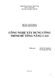 Giáo trình Công nghệ xây dựng công trình bê tông nâng cao - Vũ Thanh Te
