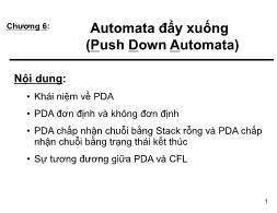 Bài giảng Automata và ngôn ngữ hình thức - Chương 6: Automata đẩy xuống