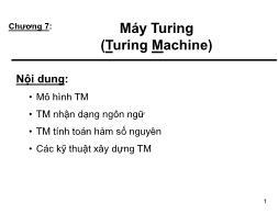 Bài giảng Automata và ngôn ngữ hình thức - Chương 7: Máy Turing