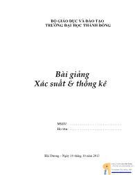 Bài giảng môn Xác suất và thống kê (Phần 1)
